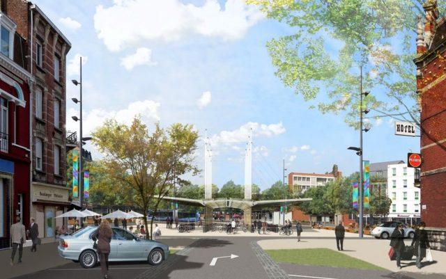 Zo wordt de nieuwe fietsenstalling Place Jean Bart te Duinkerke. Links wordt alles autovrij
